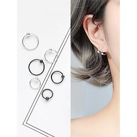 Khuyên tai tròn mảnh basic nhiều size cho cả nam và nữ phong cách Hàn Quốc