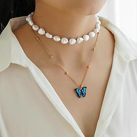 2 Pcs/set Women's Necklace Butterfly-shape Pendant All-match S Pearl Double-deck Necklace set