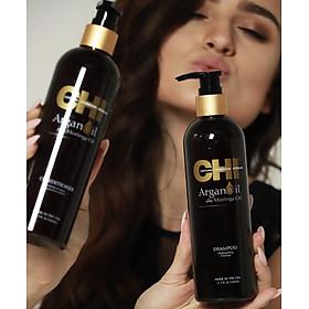 Bộ dầu gội xả CHI Argan Oil Plus Moringa Mỹ 340ml - Dưỡng ẩm mềm mượt trẻ hóa tóc-6