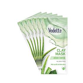 Combo 6 Mặt Nạ Đất Sét Sạch Sâu Dịu Nhẹ Vedette Clay Facial Mask Set Aloe Vera 12gx6