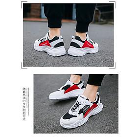 Giày Nam Thể Thao Sneaker Trắng Vải Dệt Đế Cao Su Nguyên Khối Siêu Êm Chân Phối Đen Đỏ Cực Chất Phong Cách Hàn Quốc (Hình thật) CTS-GN052-14