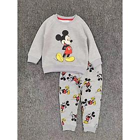 Bộ nỉ bông Mickey màu ghi bé trai 2-6 tuổi