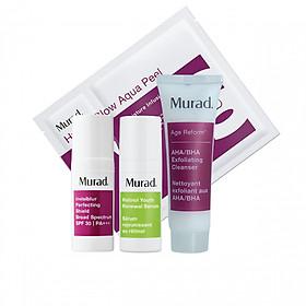 Bộ kit dưỡng ẩm làm mờ vết nhăn Murad (Invisiblur Perfecting Shield Broad Spectrum SPF 30 PA +++  10ml +AHA/BHA Exfoliating Cleanser  30ml +Hydro-Glow Aqua Peel + Retinol Youth Renewal Serum  5ml)