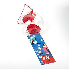 Chuông gió Furin thủy tinh pha lê ô giấy đỏ cổ trang trang trí xinh xắn tặng ảnh Vcone