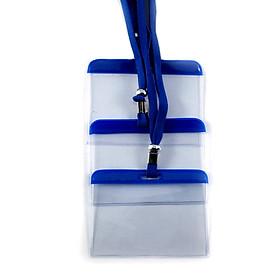 Combo 50 bộ bảng tên kèm dây đeo xanh dương