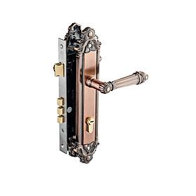 Ổ khoá cửa tay nắm (tay gạt) Huy Hoàng Con Voi EX8526 2 đầu chìa dành cho cửa chính / EX5826 1 đầu chìa dành cho cửa thông phòng, làm từ hợp kim kẽm mạ đồng thau màu đỏ giả cổ, chìa vi tính tránh bị trùng chìa