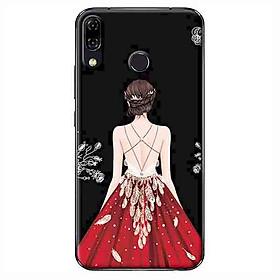 Ốp Lưng Dành Cho Asus Zenfone 5 ZE620KL - Cô Gái Váy Đỏ Nền Đen