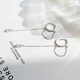 Khuyên tai bạc vòng tròn thả hạt bông tai nữ phong cách Hàn Quốc tặng ảnh Vcone