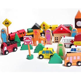 Đồ chơi mô hình thành phố 38pcs bằng gỗ