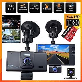 Camera Hành Trình 3 Mắt (Trước Xe, Trong Xe, Sau Xe) HD 2.0mpx 1080p Siêu Nét Dành Cho Các Loại Xe Ô Tô  Kèm Thẻ 64GB