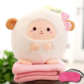 Bộ gấu gối mền CỪU ĐEO NƠ 3 trong 1, gấu bông kèm chăn gối ngủ trưa văn phòng, du lịch, cho bé (Tặng Bịt mắt ngủ màu ngẫu nhiên)