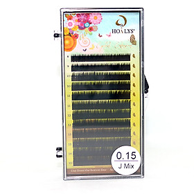 Lông Mi Nối-Mi Lụa, Mi Nhung Hoalys EG-01 - Độ cong J, độ dày 0.07, 0.10, 0.12, 0.15, dài từ 8-15mm, phù hợp với tất cả các kỹ thuật nối mi Classic, Thiên Thần, Volume - 15 - 0.15