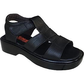 Giày sandal nam Trường Hải da bò thật mềm mại cao 5cm  màu đen đế PU siêu nhẹ không trơn trượt  chắc chắn  HÌNH ẢNH THẬT SD791