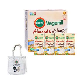 Lốc 16 hộp Sữa đậu nành, hạnh nhân và óc chó Vegemil 190ml - Tặng 1 túi vải canvas