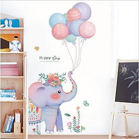 Decal dán tường chú voi con trang trí phòng bé yêu dễ thương, ngộ nghĩnh (165 x 86 cm)