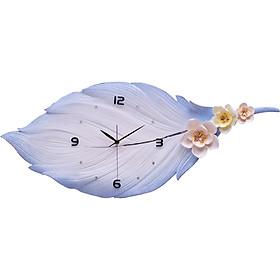 Đồng hồ treo tường lông vũ thêu hoa