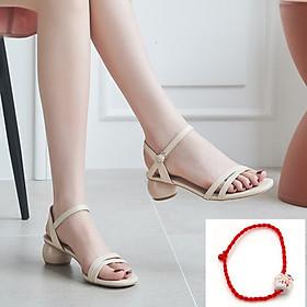 Sandal/ Giày  Cao Nữ Đẹp Quai Mảnh Gót Tròn Xinh Cao Cấp  3 Phân Phong Cách Hàn Quốc. ( tặng vòng tay chỉ đỏ may mắn Mèo gốm).