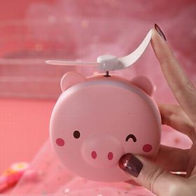 Quạt sạc mini kèm đèn gương hình pepapig siêu cute