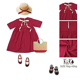 Váy Đầm Cho Bé Gái Linen màu đỏ dây nơ. Từ 8kg - 34kg - K028