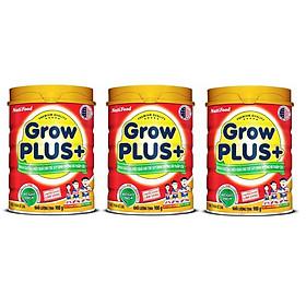 Bộ 3 Lon Sữa GrowPLUS+ Đỏ Cho Trẻ Suy Dinh Dưỡng Trên 1 Tuổi - 900g