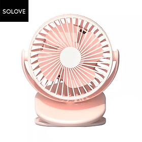 SOLOVE Clipping-on or Vertical Use Fan 360 Degree Wind Direction Type-C Charging 2000mAh Rechargeable Clip Fan 3-level
