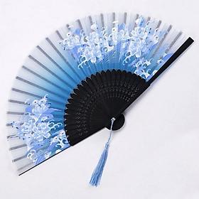 Quạt cổ trang dây tuyến XANH HOA SÓNG vải lụa xếp cầm tay quà tặng Trung Quốc xinh xắn