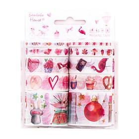 Bộ 10 băng keo giấy trang trí Washi Tape phong cách Hàn Quốc