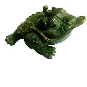 Tượng Thiềm thừ 3 chân (cóc tiểu)- Bằng đồng thau lên men xanh giả cổ nặng 650g dài 17 cm (Cóc ba chân linh vật phong thuỷ hút tài lộc)