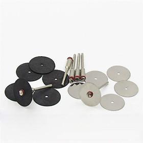 Combo 6 dĩa cưa cắt nhôm sắt và 6 đĩa cắt nhựa gỗ kèm 2 trục dùng cho máy khoan mài khắc mini