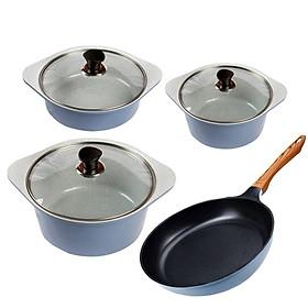 Combo 4 món, nồi đúc ceramic cao cấp 20 cm, 22 cm, 24 cm, chảo 26 cm dùng được bếp từ