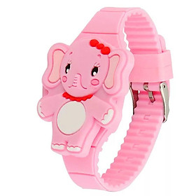 Đồng hồ đèn LED cho bé gái hình chú voi cute dây silicon xinh xắn – DH007