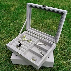Hộp đựng trang sức bọc nhung kính trong suốt nhiều ngăn (size 20x15x 5cm)