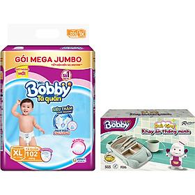Tã quần Bobby siêu thấm khô thoáng Mega Jumbo XL102 [Tặng khay ăn thông minh]