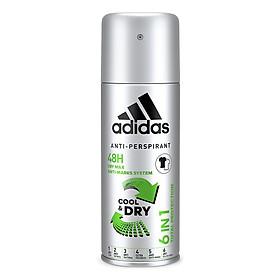Xịt Khử Mùi Toàn Thân Nam Ngăn Mồ Hôi Adidas 6 In 1 Cool & Dry 150ml