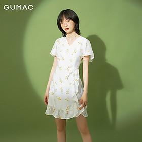 Đầm nữ tà đắp phối bèo GUMAC DB1115