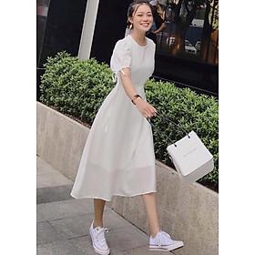 Đầm trắng cổ tròn form dài