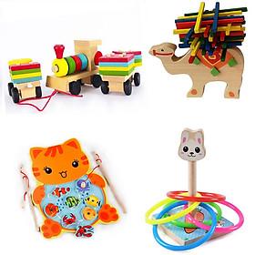 Combo 4 món đồ chơi gỗ phát triển trí tuệ cho bé