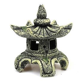 Mô hình ngôi chùa cổ trang trí bể cá hồ cá phụ kiện bể cá