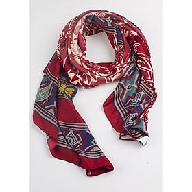 Khăn Choàng Cổ Màu Đỏ Họa Tiết Thổ Cẩm - Cotton Viscose - 180x100cm - Mã KC038