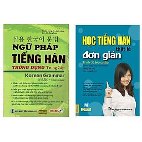 Combo Học tiếng Hàn thật là đơn giản, Ngữ pháp tiếng hàn thông dụng (trung cấp) TẶNG bookmark tùy chọn