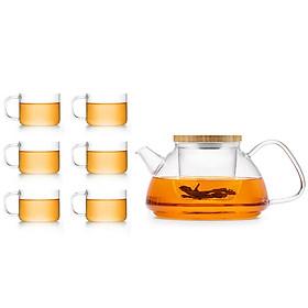 Bộ bình trà hoa thủy tinh Samadoyo T93 900mL