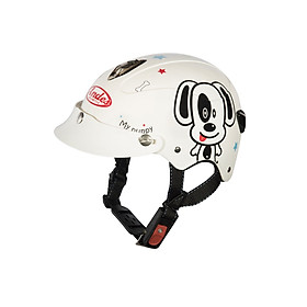 Mũ Bảo Hiểm Andes Trẻ Em Có Kính - 3S108SK Tem Bóng S101 - Trắng