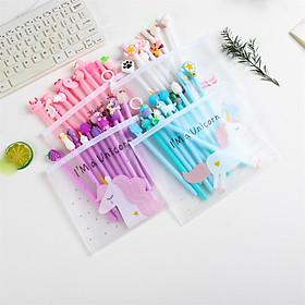 Bộ 10 bút viết nhiều màu sắc dễ thương tặng kèm túi zip