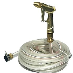 Bộ dây đầu đồng tăng áp lực nước 300% rửa xe tưới cây loạI 15m (vòi đồng-dây trắng)701-17107134981 để tưới cây dọn dẹp nhà cửa,vòi xịt rửa xe, vòi xịt tăng áp, vòi tưới