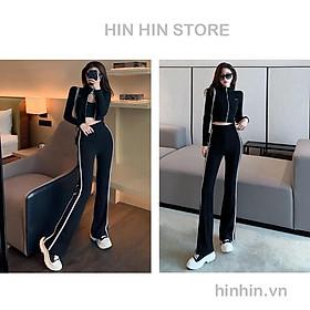Set thể thao áo cổ lọ khóa kéo + quần ống loe tôn dáng HS100 - Hỉn Hỉn Store