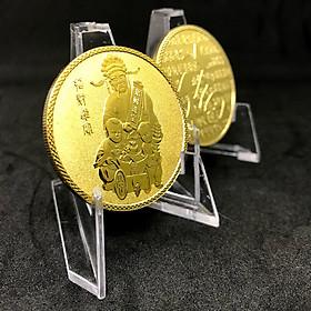 Đồng Xu Hình Thần Tài màu vàng - Với đường kính 40mm - Độ dày 3mm có thiết kế rãnh vô cùng sắc xảo - Quà Tặng Trang Trí Trưng Bày - Dành cho ngày Thần Tài Tết 2020  - Tặng Kèm Hộp Đựng Xu bằng Nhung Cao Cấp - TMT Collection
