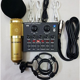 combo v8 và mic bm900 thu âm livestream hát siêu hay