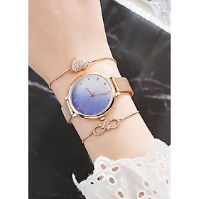 Đồng hồ nữ phiên bản Hàn Quốc, dây lưới mạ vàng sang trọng, Tặng kèm vòng tay - Hàng nhập khẩu