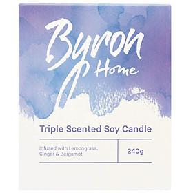 Byron Home Triple Scented Soy Candle Lemongrass Ginger & Bergamot