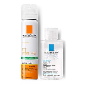 Bộ bảo vệ da Xịt Chống Nắng Dạng Phun Sương Kiểm Soát Dầu La Roche-Posay Anthelios Invisible Fresh Mist SPF 50+ UVB & UVA (75ml) & Nước Tẩy Trang Làm Sạch Sâu Cho Da Nhạy Cảm La Roche-Posay Micellar Water Ultra Sensitive Skin 100ml